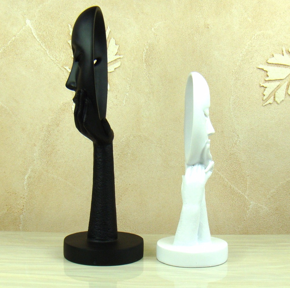 Seducing Lady Mask Character Figurine Abstractive Resin Dazing Girl Face Statue Innovation Decoration Art and Craft Ornament