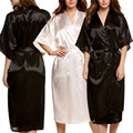 Unisex Silk Satin Robes Sexy Men Women Bathrobes Solid Half Sleeve Sleepwear Lounge Robes Peignoir Femme Womens Dressing Gown