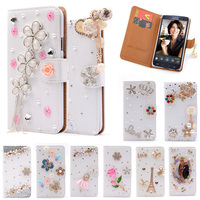 S3 Luxury Wallet Stand Flip PU Leather Diamond Girl Bowknot Cosmetic Mirror Case For Samsung Galaxy