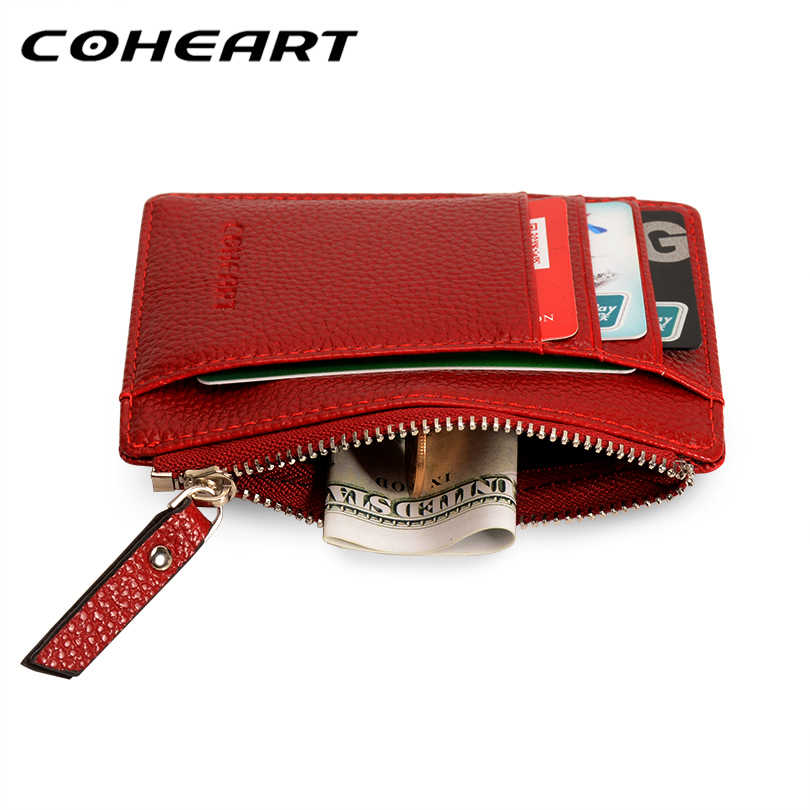 COHEART Card Wallet Leather Purse Small Ultra-thin Wallet Women Card Holder Female Purse Coin Bag Mini Top Quality Promotion !