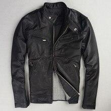 2017 мужские черные кожаные мотоциклетные куртка Стенд воротник плюс Размеры 5XL Slim Fit байкер кожаные пальто фабрики Бесплатная доставка