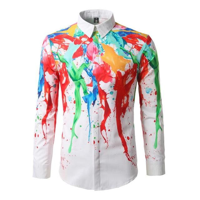 cdf69ebc0137 Hot Fashion Personality Multi-color Splash Paint Type Printing Camisa  Social Slim Fit Leisure Size
