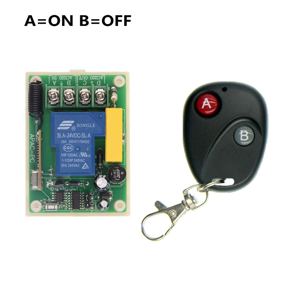 AC 220V 30A Relay 1 CH 1CH RF Wireless Remote Control Switch System,315/433.92 MHZ Transmitter And Receiver,Latched (A-ON,B-OFF) dc24v 8ch rf wireless remote control switch 8 receiver