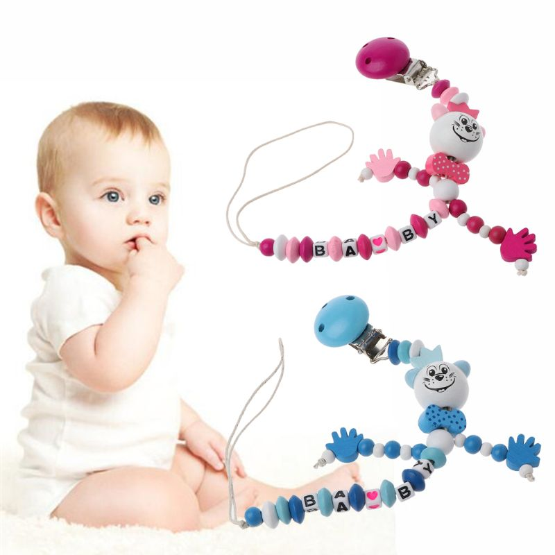 Baby Pacifier Clip Chain Infant Boys Girls Letters Toys Teether Pacifier Chain Holder Baby Nipple Feeding Pacifier Clips