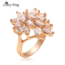 Hot Sale Cz Diamond Ring Top Quality Wholesale Gold Platinum Plated Clear Cubic Zirconia Inlayed Ladies Wedding Jewlery