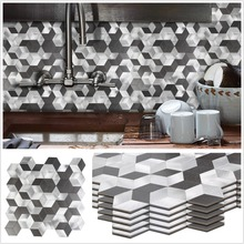 Wholesale 5 Pieces Peel and Stick Aluminum Alloy Wall Tiles 12 Inch Fireproof Silver Black 3D Stickers for Backsplash