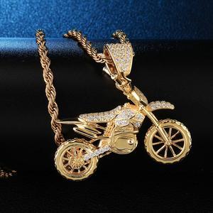 Image 3 - HIP Hop pełna AAA Iced Out Bling CZ Cubic cyrkon miedź fajne motocyklowe wisiorki i naszyjniki dla mężczyzn biżuteria hurtowych