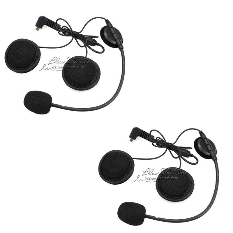 2 pcs Earpiece Microphone For BT S2 BT S1 Motorcycle Bluetooth Intercom Interphone Helmet Headset