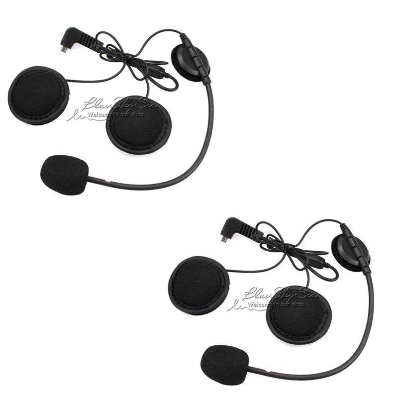 2 pcs Earpiece Microphone For BT-S2 BT-S1 Motorcycle Bluetooth Intercom Interphone <font><b>Helmet</b></font> Headset