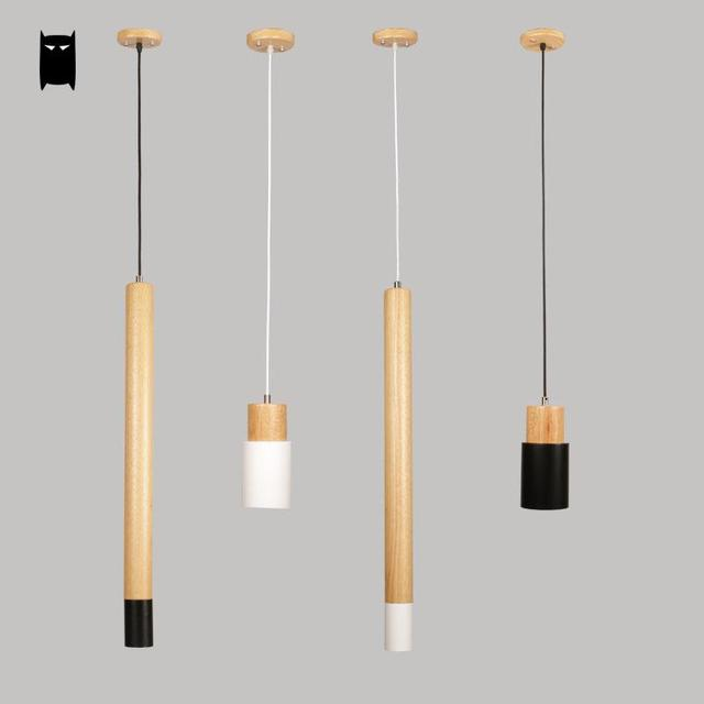 Black White Long Iron Wood Pendant Light Fixture Nordic Modern Art Deco Small Hanging Suspension Lamp
