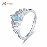 Luxury 0.36ct Real 925 Sterling Silver Crown Rings For Women Water Drop Blue Rhinestone Crystal Vintage Jewelry Bijoux Femme