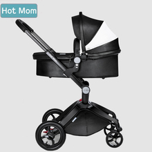 baby strollers hot mom 3 in 1 baby carriage leather hood Pram strollers bassinet sleeping basket and car seat