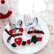 1 pair  Christmas Decoration Snowman Kitchen Tableware Holder Pocket Dinner Cutlery Bag knife and fork spoon