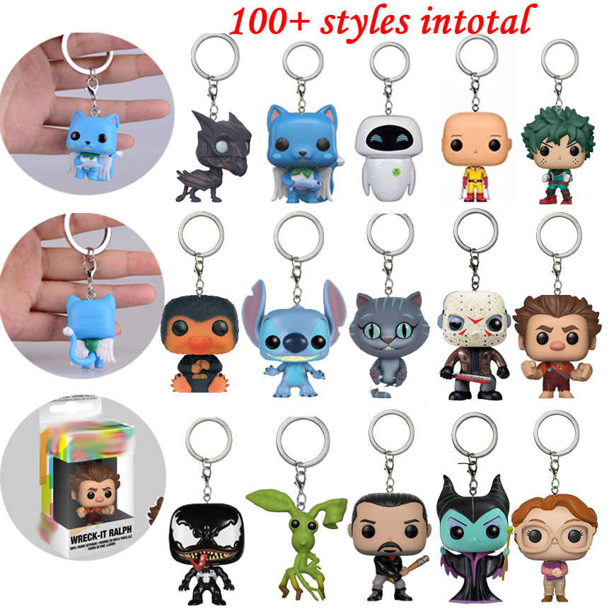 Action FIGURE Keychain ของเล่นญี่ปุ่นอะนิเมะ Happy Avengers VENOM Walking Dead Negan Rick Magic Thestrals Figurine Original Keychcain