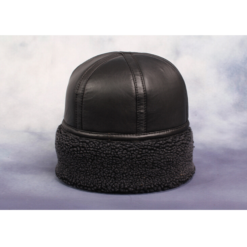 HL014 NEW mens Beanie Black Sheepskin Shearling Fur Hat Real Leather Warm Winter  Cap-in Skullies   Beanies from Apparel Accessories on Aliexpress.com ... d99fd73bcc9