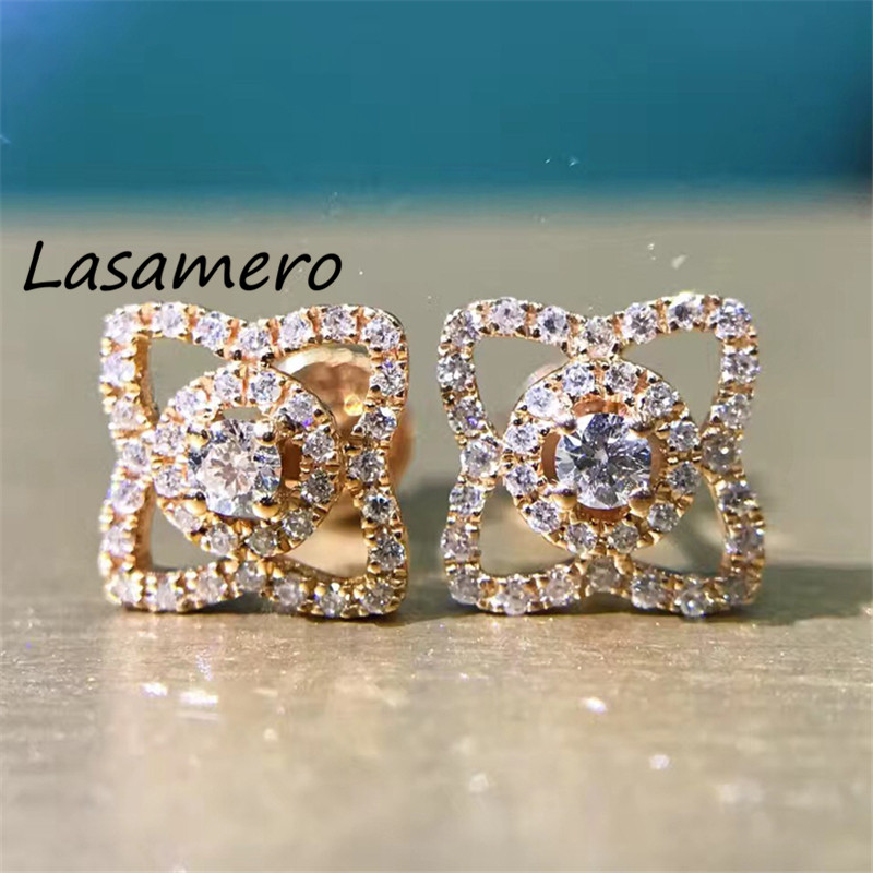 LASAMERO 0.3CTW Round Cut 18K Rose Gold Diamond Flower Pattern hollow Diamond Earrings Stud Earrings Fine Jewelry Earring Studs starry pattern gold plated alloy rhinestone stud earrings for women pink pair