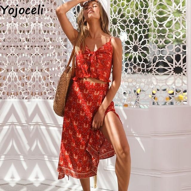 e4618eae93 Yojoceli Sexy bow strap striped ruffle long dress women two piece set Summer  elegant beach cute