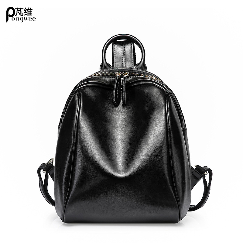 PONGWEE High Quality Genuine Leather Women Backpack Vintage School Backpack For Girls Brand Designer Bags Best Gift japan and korean style denim women s backpack school vintage backpack for girls brand designer bags best gift