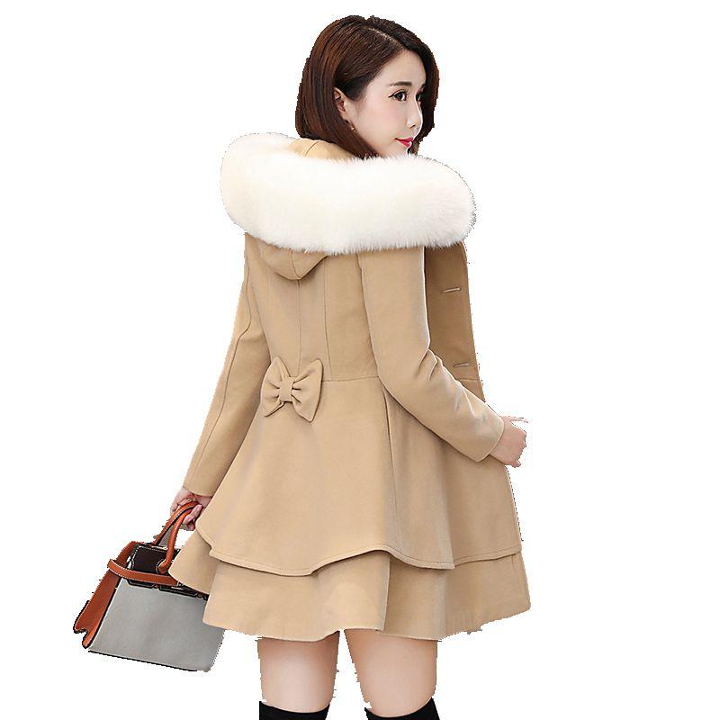 Automne et hiver nouvelle version coréenne des femmes de la longue section mince minceur style pendule style solide à capuche manteau de laine