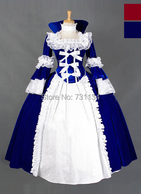 Us 1050 Newest Adult Medieval Period Costumes 2016 Blue And Red Lace Gothic Renaissance Medieval Dresses Vintage Civil War Corset Dress In Dresses