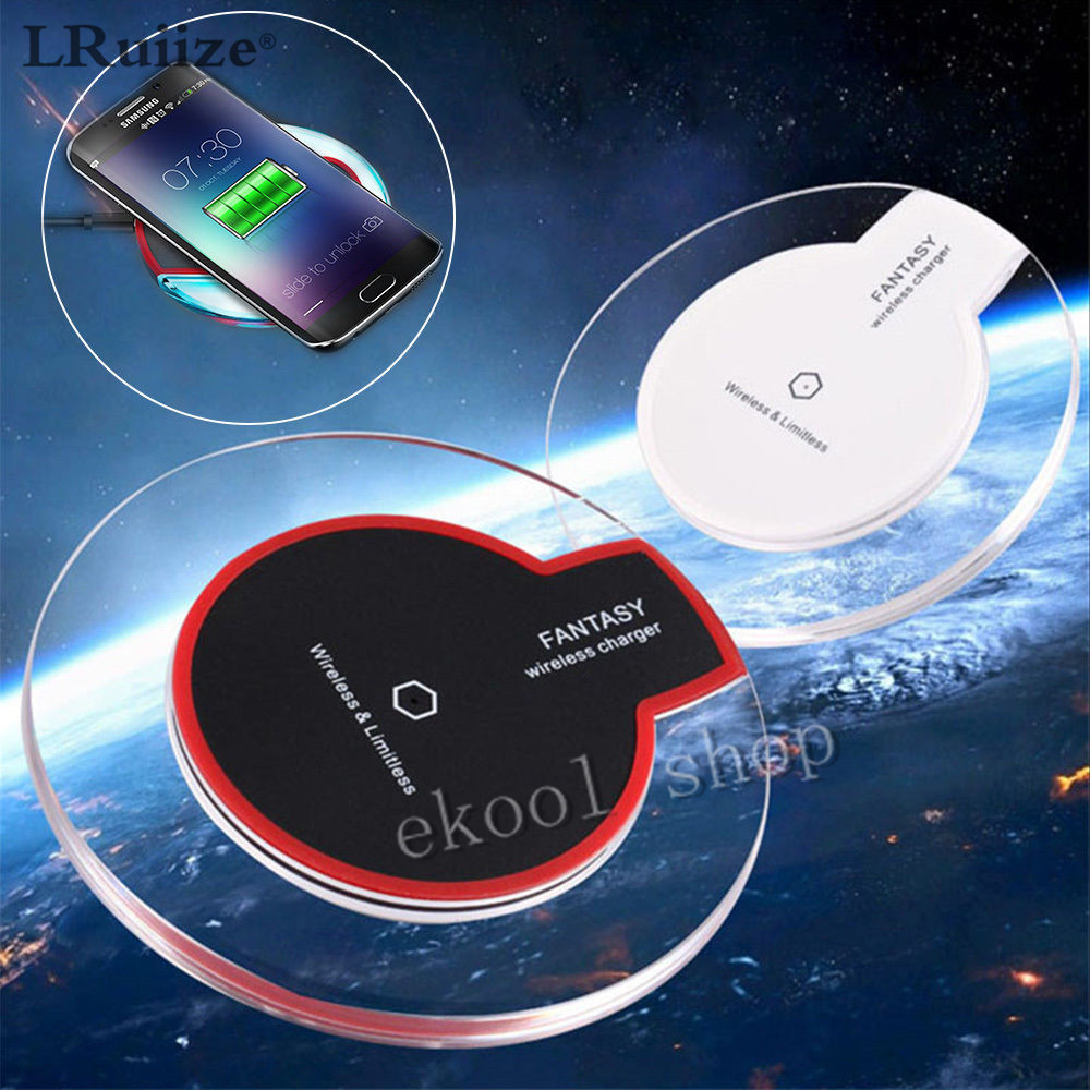 LRuiize Fantasy Crystal Wireless Charging Pad Qi Charger Dock para Apple iphone 8 SE 5S 6 6Plus 6S Plus 7 7 Plus + Adaptador de receptor