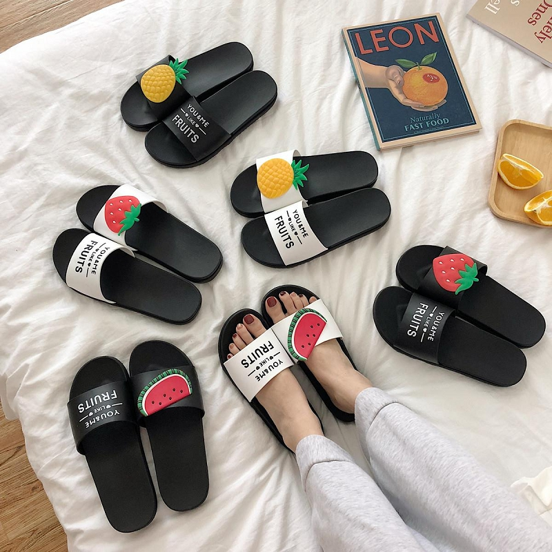 Women's Fruit Slippers Summer Beach Flat Sandals Female Slippers Ladies Fashion Lovely Cute Bathroom Home Slippers