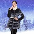 Alta Qualidade Nova Chegada de Moda 2016 Mulheres de Grande Gola De Pele Grossa Quente Casacos de Inverno Pato Para Baixo Parkas Casacos Com Zíper