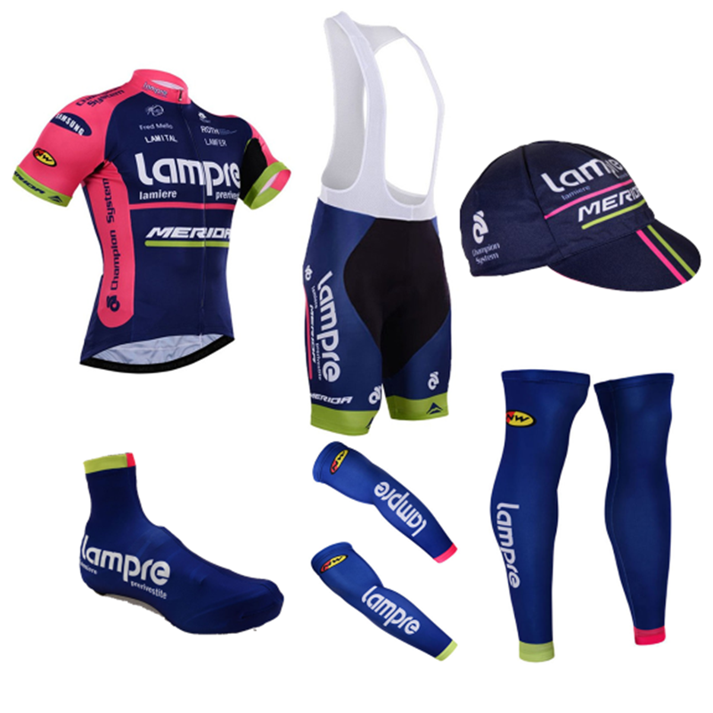 Lampre Pro 2018  6 Pieces short sleeve Cycling Jersey Full set dry fast team Bahrain  mda Ropa Ciclismo Ropa bicycle clothing