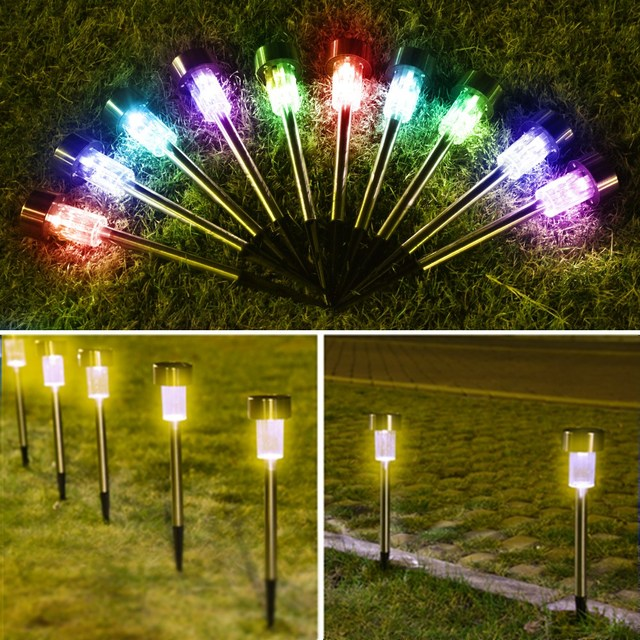 10pcs led solar garden light stake lawn spot lamp yard path solar lights christmas party pathway