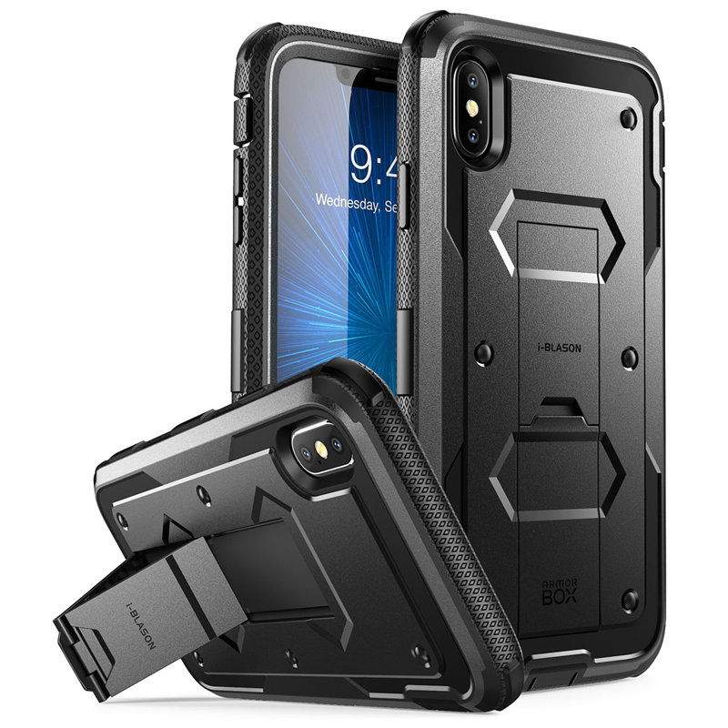 For iphone Xs Max Case i Blason Armorbox Full Body Heavy Duty Shock Reduction Case with Built in Screen Protector & KickstandFitted Cases   -