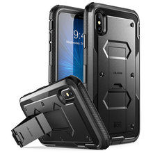 For iphone Xs Max Case i Blason Armorbox Full Body Heavy Duty Shock Reduction Case with Built in Screen Protector & Kickstand