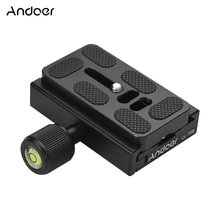 Andoer CL 70S 70mm Aluminum Alloy Quick Release Plate with Clamp 3/8 inch with 1/4 inch Adapter Bubble Level for Tripod Head