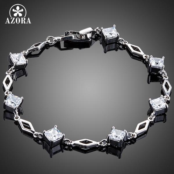 AZORA Elegant Princess 7pcs Clear Square Cubic Zircon Bracelet for Women TS0147