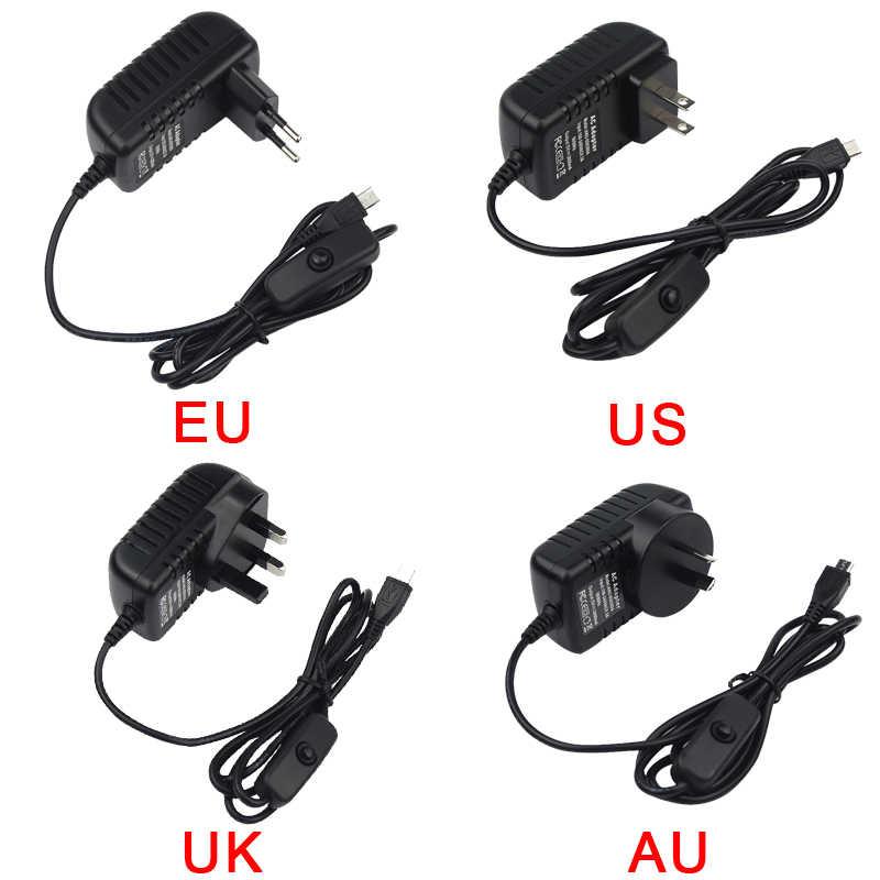 5 в 3 А переключатель питания Micro USB адаптер зарядного устройства EU US UK AU Для Nvidia Jetson Nano для Raspberry Pi 3 Model B +