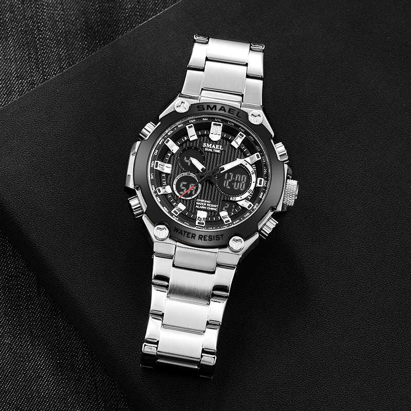 Relojes de cuarzo marca de lujo para hombre reloj SMAEL reloj mecánico para hombre automático reloj de pulsera de cuarzo con calendario resistente al agua 1363