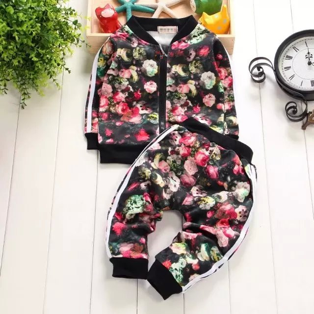 2017 New Fashion Kids Sports Suit Baby Girls 2pcs Clothing Set Jacket Pants Boys Casual Tracksuits