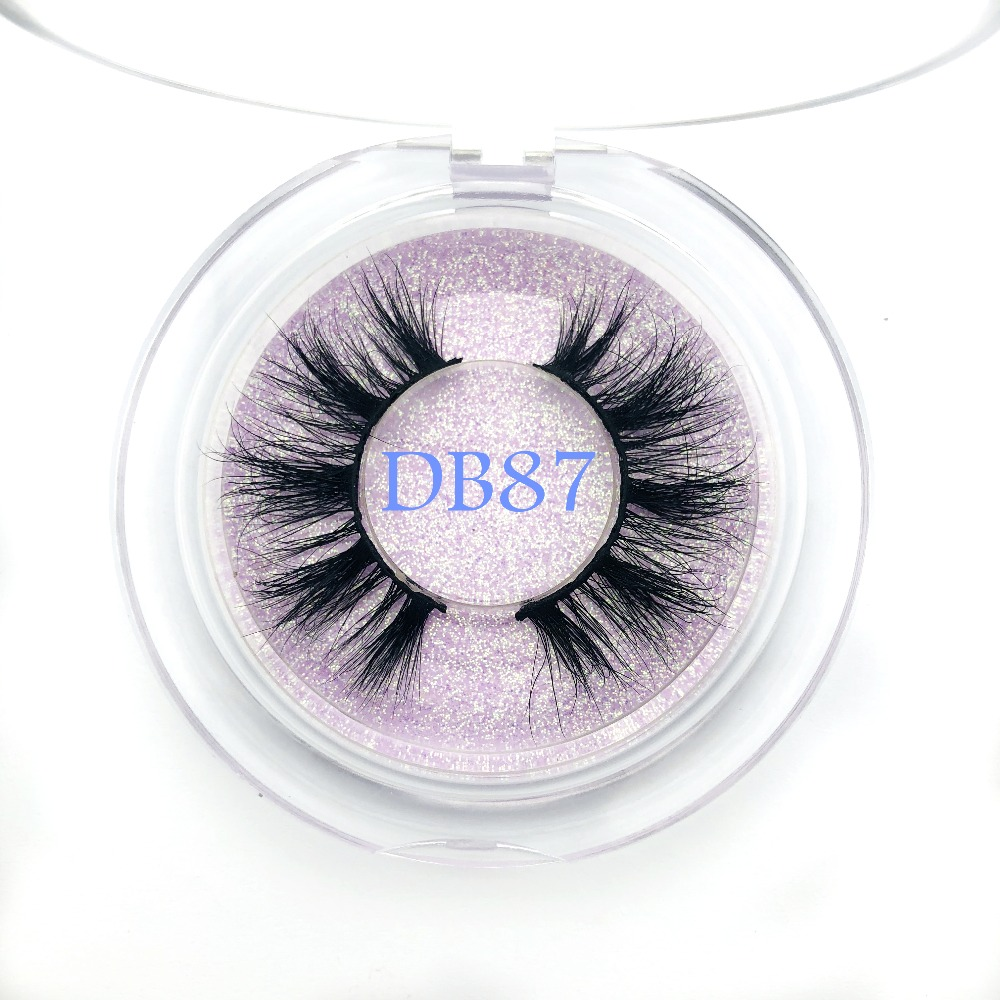 Buzzme New Arrivals 3D Mink Eyelashes Natural False Eyelashes DB87 Makeup Real Mink Lashes Round Box