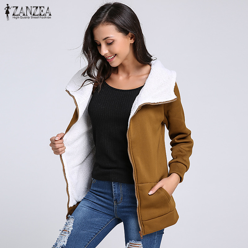 ZANZEA Women Hoodies Fleece Sweatshirt Warm 2019 Winter Coat Long Sleeve Zipper Pockets Casual Loose Hooded  Plus Size Outerwear