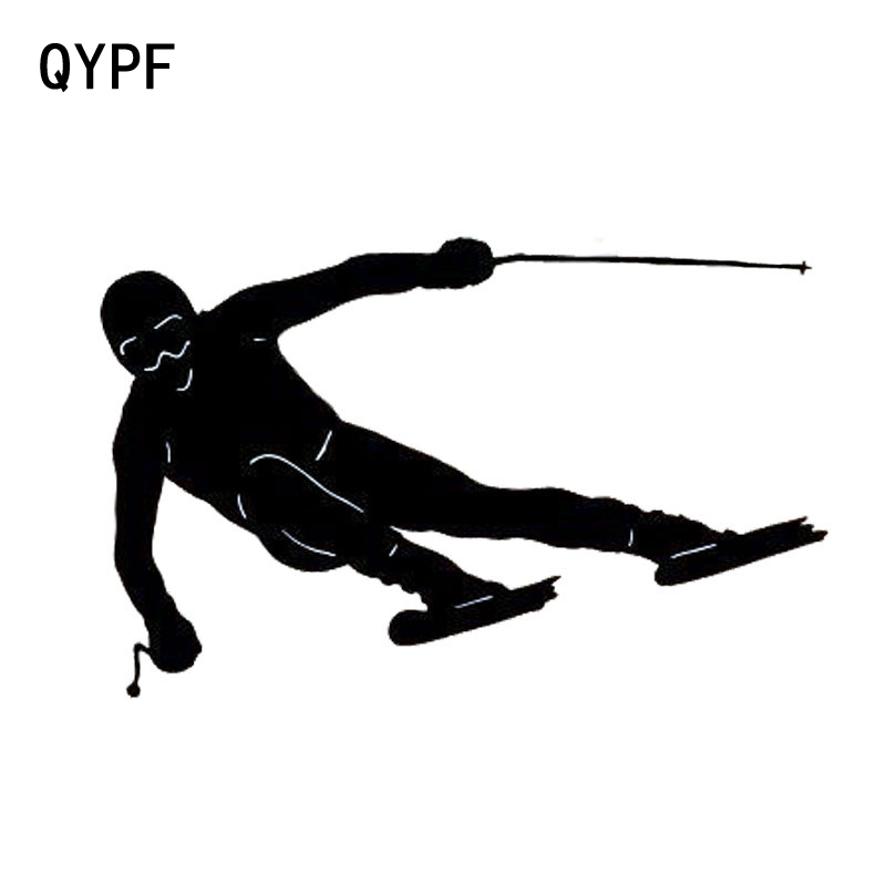 QYPF 13cm*8.3cm Car Styling Double Board Ski Fashion Sports Car Stickers Vinyl Decal Black Silver S2-0340