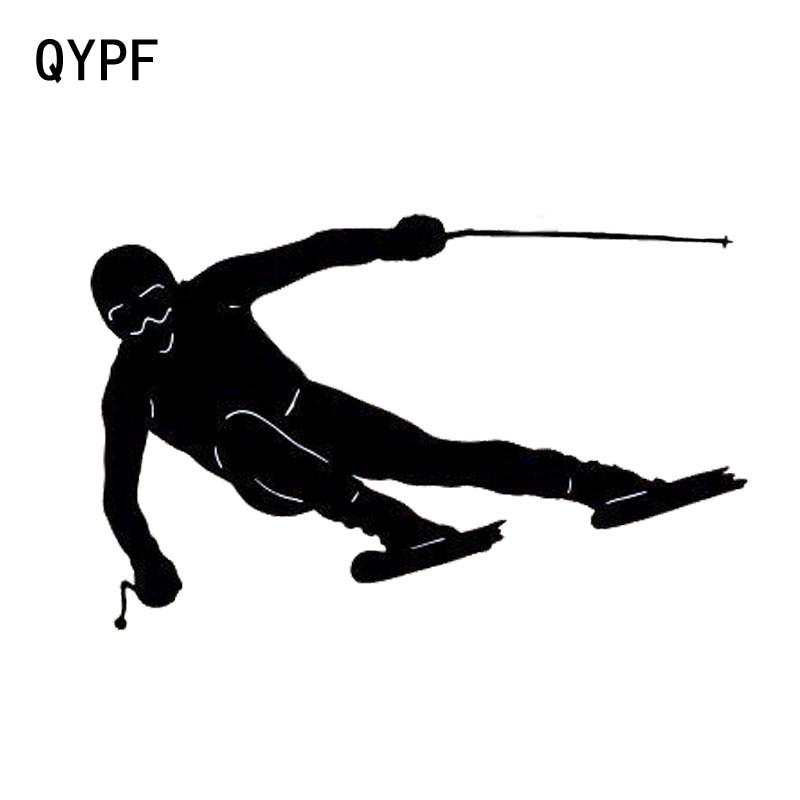 QYPF 13см*8,3 см автомобиль для укладки двойной Совет Лыжный мода спортивный автомобиль наклейки виниловые наклейка черный серебро С2-0340