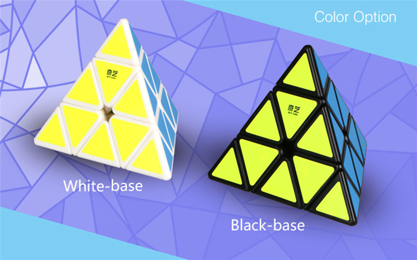 QiYi Pyraminx Magic Cube Black And White Original QiMing A Pyramid Plastic Puzzle Cube Kids Toys Professional Speed Cubo Magico