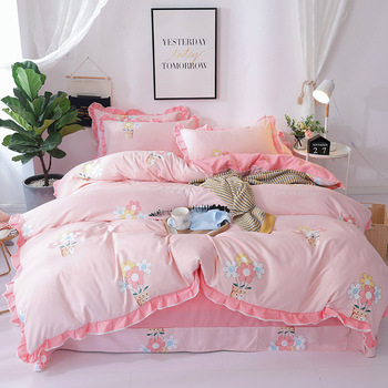 Korean Version Of The Lace Princess Wind Four-piece Set Of Wool Tribute Cotton Single Double Bedspread Bedding XHS0071