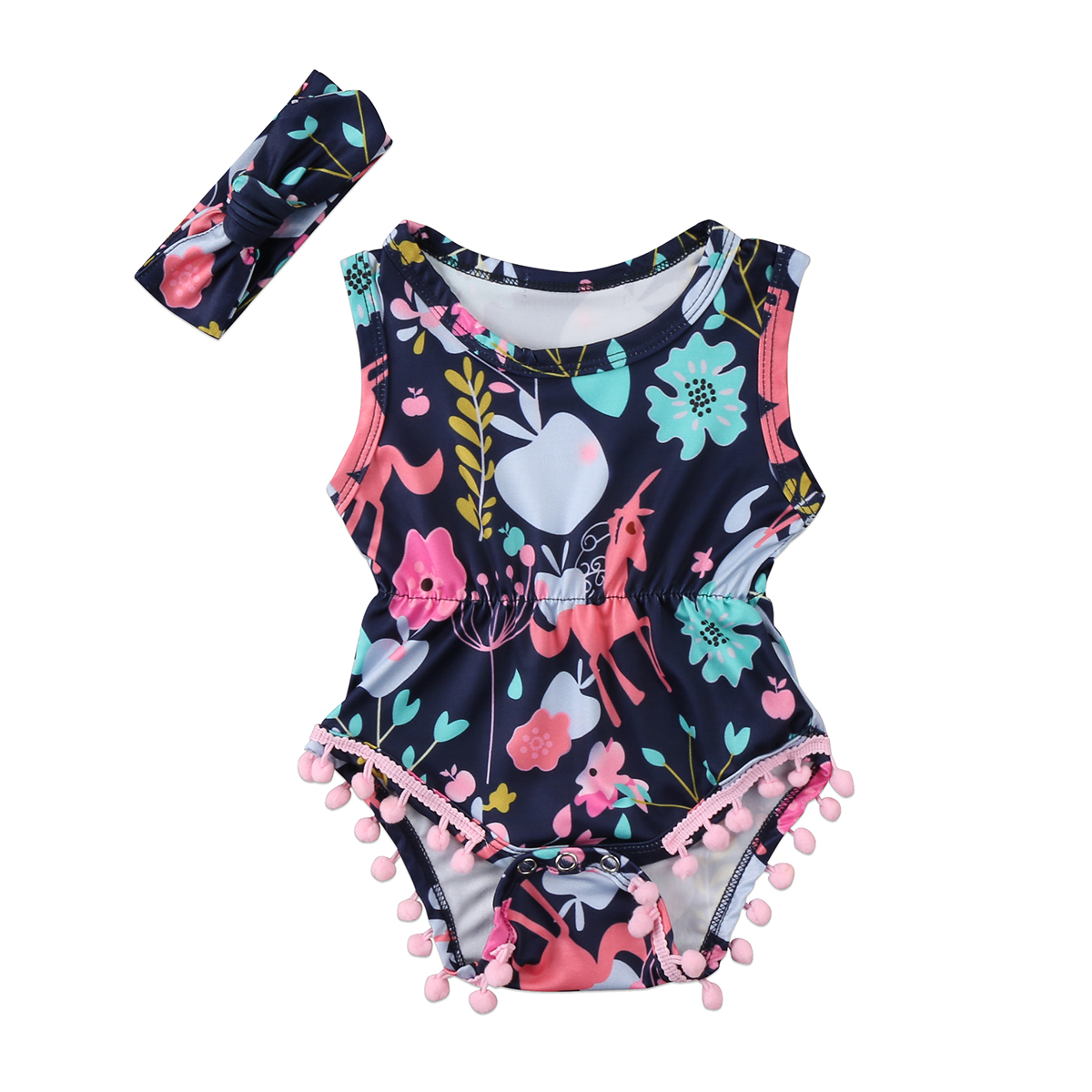 Flower Girls Romper Newborn Baby Girls Floral Sleeveless Romper Jumpsuit Baby Outfit Clothes Sunsuits0-2T