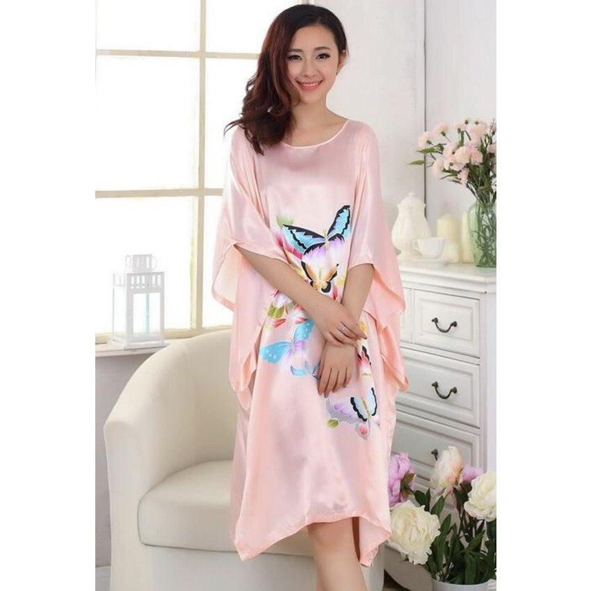 Hot Sale Ladies Robe Summer Chinese Women Rayon Sleepwear Kimono Bath Gown Nightgown One Size Mujer Pijama W4S0078