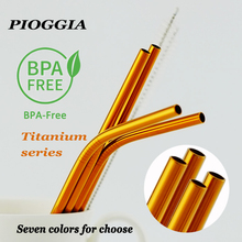 все цены на Colorful 304 Stainless Steel Straws Reusable Straight Bent Metal Drinking Straw With Cleaner Brush Set Party Bar Accessory онлайн