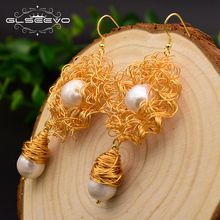 XlentAg Handmade Natural Fresh Water Baroque Pearl Dangle Earrings For Women Wedding Party Gifts Drop Jewellery GE0499