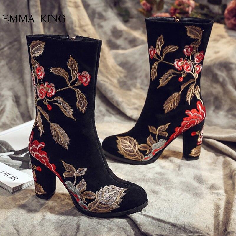 Nouveau Style éthique automne hiver broder fleurs feuilles bottines pour femmes carré talons hauts Botines Zipper noir chaussures femme