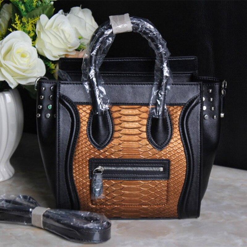 Women Tote Handbag Shoulder Bags Large Trapeze Split Leather Women Crossbody Bags Serpentine Rivet Luxury Women Messenger Bags аксессуары для косплея cos alliance cos cosplay