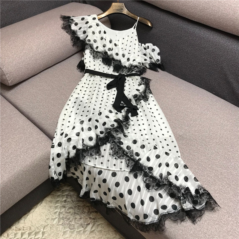 Luxury Designer Brand Dress For Women Sexy Black White Dot Lace Chiffon Off The Shoulder Strap Irregular Mid Length Party Dress