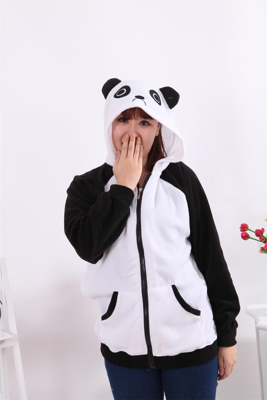 Women White Black Thick Panda Hoodie Hooded Coat Jacket Sweatshirt